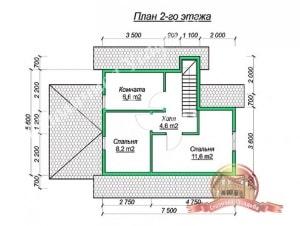 План верхнего этажа проекта дома из бруса 6х6