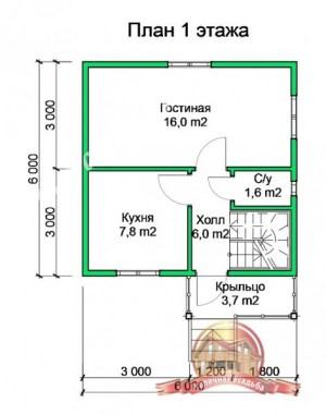 План 1 этажа проекта дома из бруса 4 на 6 с террасой