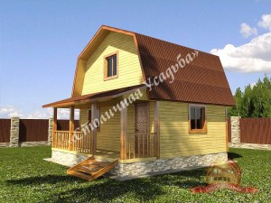 Дом из бруса 6х9 с ломаной крышей