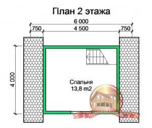 План 2 этажа проекта дома из бруса 6х9