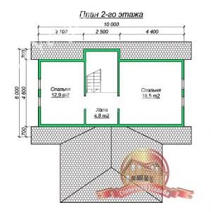 Планировка верхнего этажа дома из бруса 9.5х13