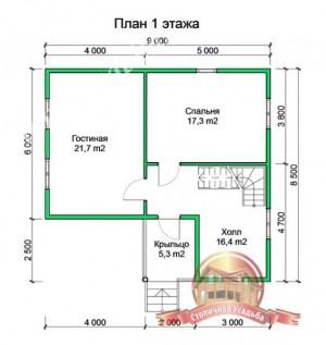Планировка 1 этажа проекта дома из профилированного бруса естественной влажности 10х10