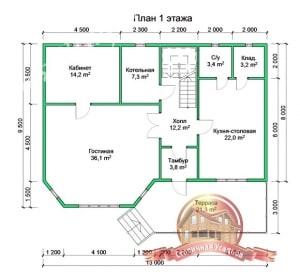 План 1 этажа проекта дома из профилированного бруса. В архитектуру включен эркер