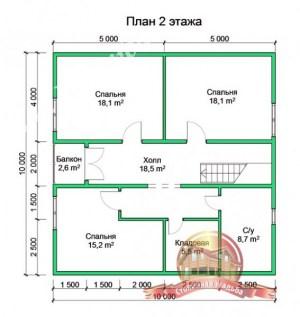 План 2 этажа проекта дома из бруса 13х13