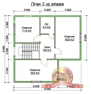 Планировка 2 этажа проекта дома из бруса 9х12