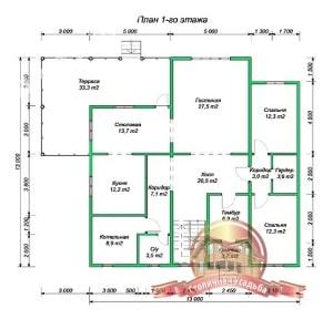 План 1 этажа проекта дома из бруса 7х10 с террасой