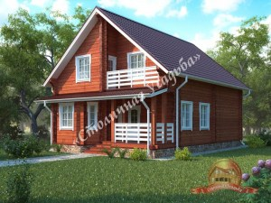 Дом из профилированного бруса 9х12 с верандой и балконом