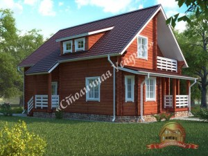 Уютный дом из профилированного бруса 9 на 12 с балконом
