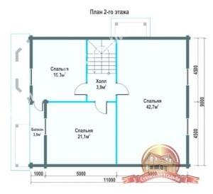 План 1 этажа проекта дома из профилированного бруса 9х12 с балконом и верандой
