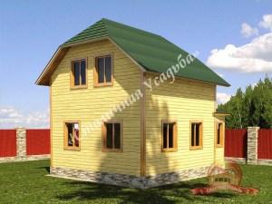 Вид на сруб из бруса 7х10, проект деревянного дома
