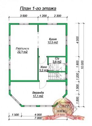 Планировка 1 этажа проекта дома из бруса 7х10 с эркером