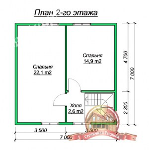 Планировка 2 этажа проекта дома из бруса 7х10 с эркером