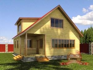 Проект дома из бруса 10х8 с кукушкой и большими окнами