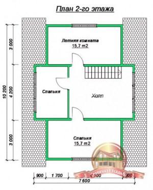 План 2 этажа проекта дома из бруса 10х8 с большими окнами и кукушкой