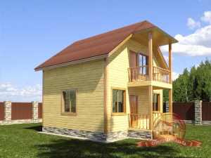 Двухэтажный брусовой дом с панорамными окнами