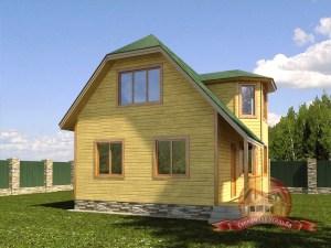 Дом из бруса 7х9 с панорамными окнами, эркером