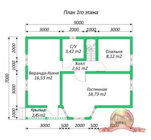 План 1 этажа дома из бруса 7х9 с панорамными окнами, эркером