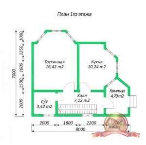 План 1 этажа проекта дома из бруса 7х8 с ломаной крышей и панорамными окнами