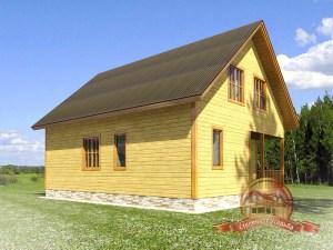 Двускатная крыша дома из бруса с большими окнами