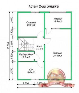 Планировка внутреннего пространства дома из бруса 8х10 для постоянного проживания с большими окнами