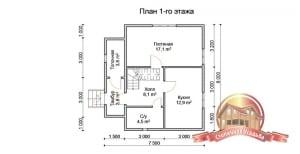 План 1 этажа деревянного дома с отличной планировкой