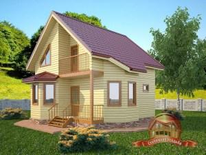 Проект двухэтажного брусового дома 8х8