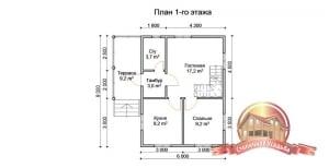 План первого этажа брусового двухэтажного домика