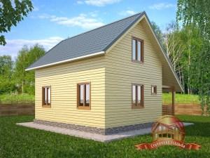 Двухэтажный брусовой дом 6х8