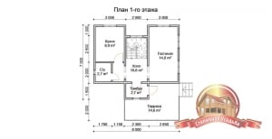 План первого этажа дома 7х8 из бруса с просторной террасой и санузлом