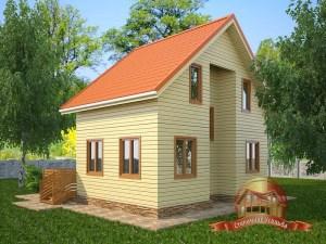Прекрасный дом из бруса 7х8 с открытой террасой