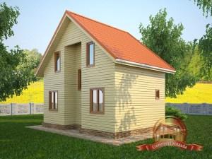 Деревянный дом на загородном участке с санузлом