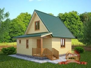 Пример загородного дома из бруса по проекту 6.5 на 7.5 с мансардным этажом