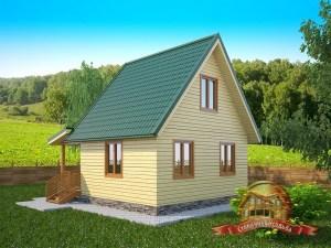 Брусовой дом 6.5х7.5 с уютным крыльцом