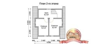 План второго этажа домика из дерева на загородном участке