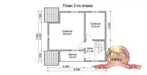 План второго этажа брусового домика с выходом на балкон