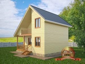 Деревянный домик в два этажа на загородном участке