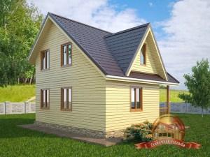 Брусовой домик с балконом и открытой террасой