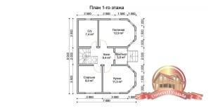 Проект первого этажа дома из бруса 7х9, отличная планировка, эркер, с/у
