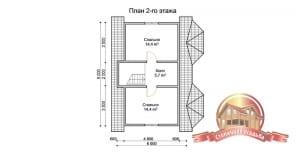 План второго этажа проекта дома из бруса 7х9, отличная планировка, эркер, с/у