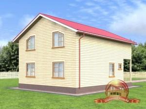 Деревянный домик в два этажа с открытой террасой