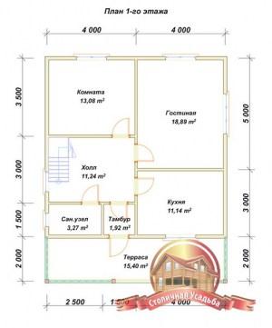 План первого этажа брусового дома 8х10 двухэтажного с террасой