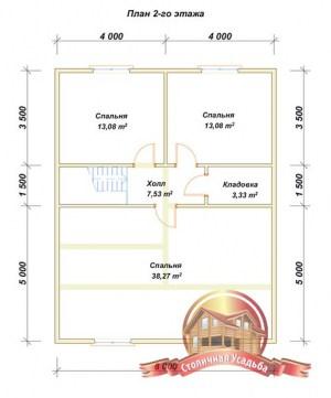 План второго этажа брусового домика с отличной планировкой внутреннего пространства