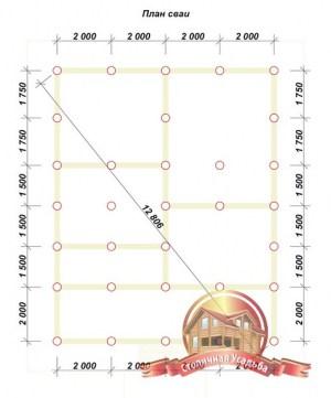 План сваи для дачного домика из бруса 8х10
