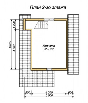 Планировка 2 этажа двухэтажной бани 6х7