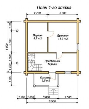 План двухэтажной бани 6 на 6 метров