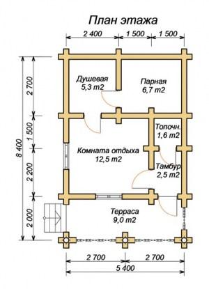План бани 5х8