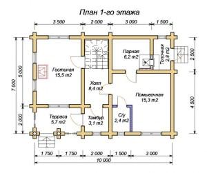 План 1 этажа гостевого дома-бани 7 х 10