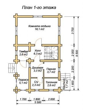 Планировка гостевого дома-бани 5 х 9, 1 этаж