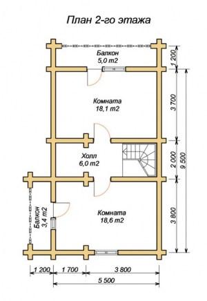 Планировка гостевого дома-бани 5 х 9, 2 этаж