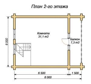 План второго этажа бани 8 х 8